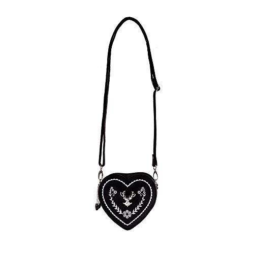 ASVP Shop Damen Oktoberfest Tasche - Herz Kostüm Tasche mit Edelweiss, Hirsch Brosche und Herz Blumen Stickerei - Schöne Handtaschen für das Oktoberfest Dirndl (Schwarz Und Silber)