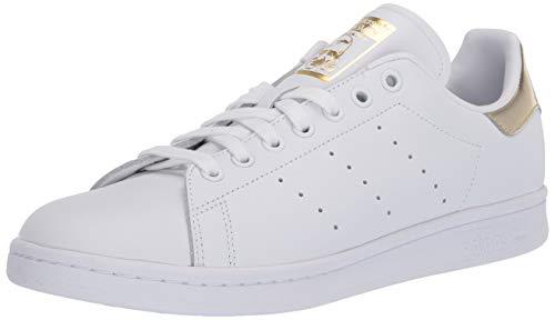 adidas Originals Women's Stan Smith Sneaker, White/White/Gold Metallic, 7