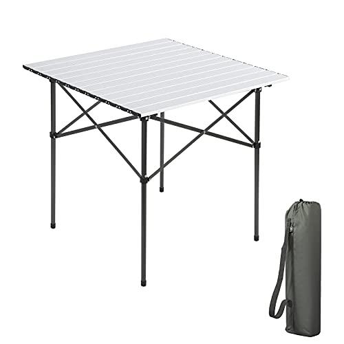 EVER ADVANCED Campingtisch Klapptisch mit Aluminium Tischplatte faltbar leicht klappbar tragbar mit Tragetasche 70 x 70cm für Camping Garten Party Picknick Balkon