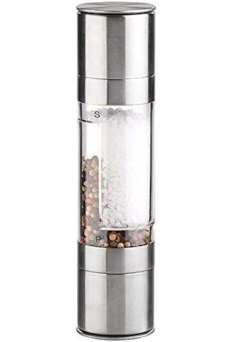 Rosenstein & Söhne Pfeffer und Salz Mühle: Manuelle 2in1-Salz-und Pfeffermühle mit 2 Keramik-Mahlwerken, 22 cm (Kombinierte Salz und Pfeffermühle)