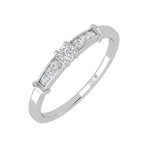 Rikhava Diamonds Solitario, compromiso, anillo de bodas para mujer, joyería con oro blanco de 10 K, anillo certificado IGI de 0,09 quilates, tamaño 52