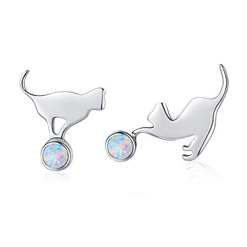 Pendientes de plata de ley para mujer, diseño de gato y ópalo de plata 925 (pendientes de ópalo...