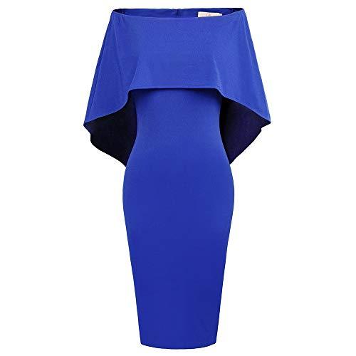GRACE KARIN Damen Kleid Ärmelloses Off Shoulder Batwing Cape Elegant Knielang Cocktail Kleid Blau CLAF0039-9_XL