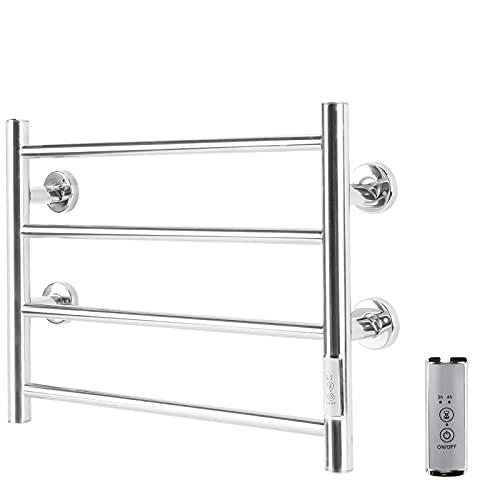 Horsmile Towel Warmer 4 Bar Hardwired Towel Dryer, Wall-Mounted Plug-in Bath Towel Heater for Bathroom, Mirror Polish