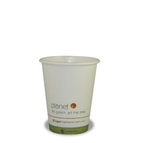 Planet+ 100% Compostable PLA Laminated Hot Cup, 8-Ounce, 1000-Count Case