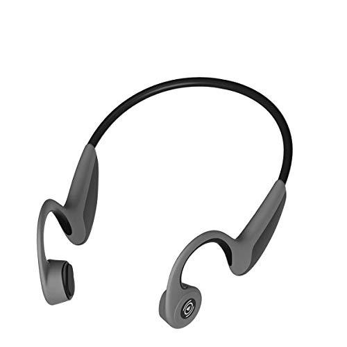 Auveach Ossea, auriculares de conducción, Bluetooth 5.0, inalámbricos, para conducción, óseos, sin cables, HiFi, estéreo, manos libres, abiertos, ligeros, deportivos, 5 horas de reproducción (negro)