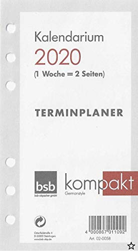 bsb Kalendereinlage 2021 ca. A6 16,8x9,5cm Timereinlage für Zeitplaner Pocket 1 Woche auf 2 Seiten