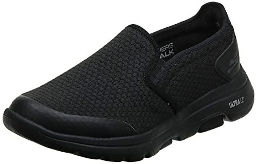 Skechers Men's GOwalk 5 - Elastic Stretch Athletic Slip-On Casual Loafer Walking Shoe Sneaker, Black, 12 X-Wide