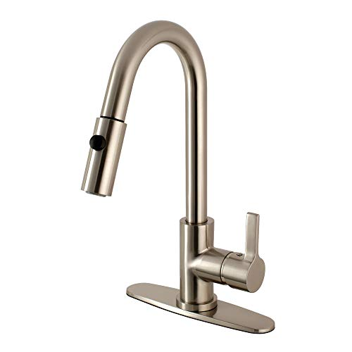 "Kingston Brass LS8788CTL Continental Kitchen Faucet with Pull Down Sprayer, 8-7/16"" in Spout Reach, Brushed Nickel"