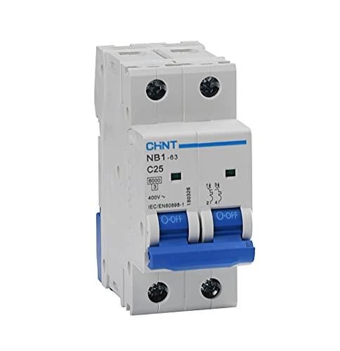 Chint Interruptores magnetotérmicos Serie NB1-63 Curva C, cód. 180326 (bipolar 2 módulos 2P, 400Vac-25A)