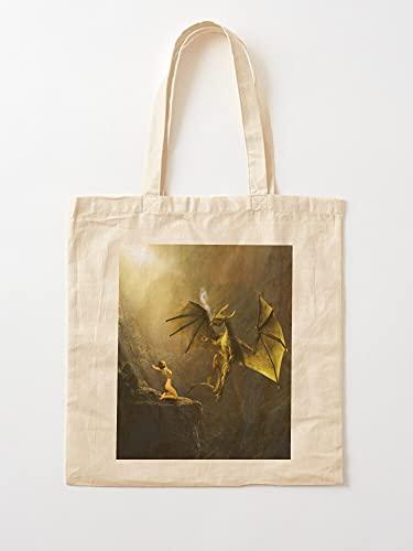 Générique Kite Being Fantasy Monster Dragon Landscape Art Mrs | Bolsas de lona con asas, de algodón duradero