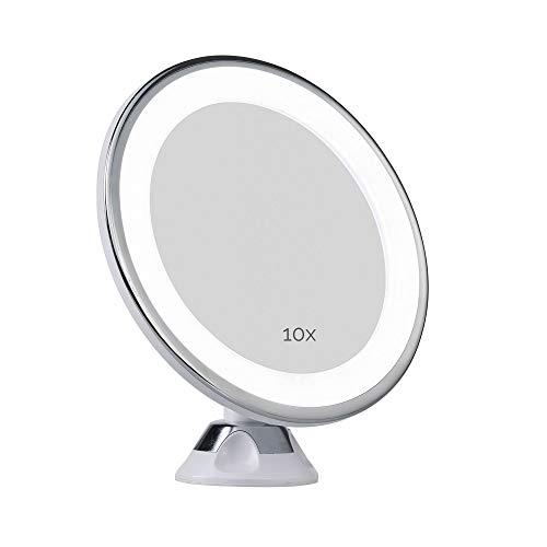 Pauleen Enlarge Your Inner Spark Schminkspiegel Vergrößerungsspiegel 10fach und Saugnapf und Kugelgelenk LED Kosmetikspiegel mit Licht Weiß matt Kunststoff/Spiegel 48007