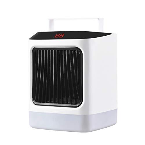 Huante - Calefactor portátil multifuncional pequeño con mando a distancia para escritorio doméstico con contra sobrecalentamiento, enchufe de la UE