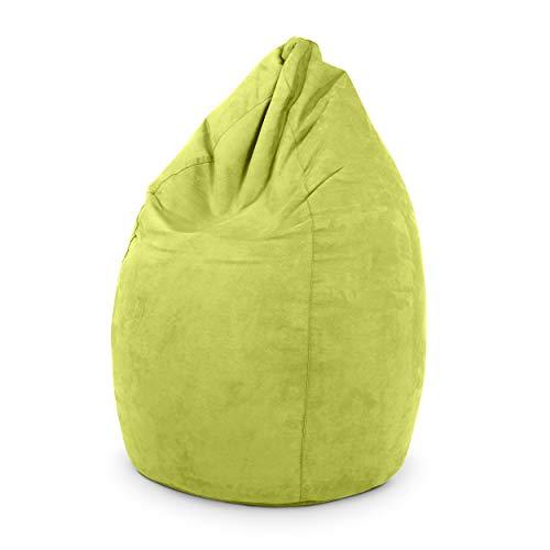 Green Bean © Drop Sitzsack 60x60x90 cm - 220L - Indoor - Sitzhöhe 50 cm, Rückenlehne 40 cm - waschbar, schmutzabweisend, abwischbar - Sitzkissen Bean Bag Gaming Sessel - Wildleder Optik - Grün