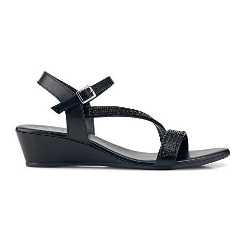 DRIEVHOLT Damen Keil-Sandalette Schwarz Leder 38