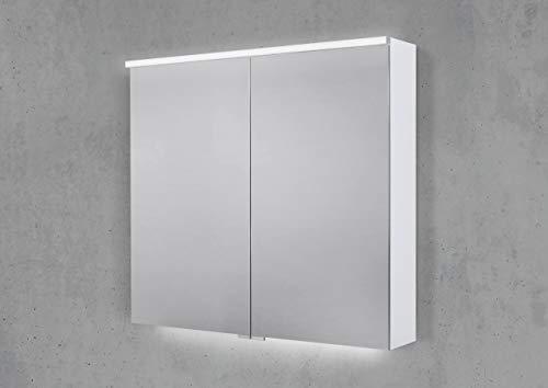 Intarbad ~ Spiegelschrank 80 cm integrierte Multi Light LED Beleuchtung Doppelspiegeltüren Vicenza Eiche IB1922