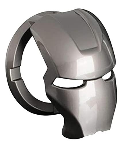Iron Man 3D Anime Charakter Start Stopp Knopfabdeckung Aluminiumlegierung Schutzhülle Automatischer Startknopf Aufkleber Dekorativer Ring DIY (grau)