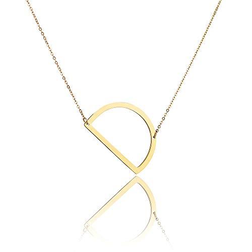 Collana laterale laterale Alfabeto in acciaio inossidabile placcato in oro Collana personalizzata Nome gioielli D Catena 45 + 5 cm