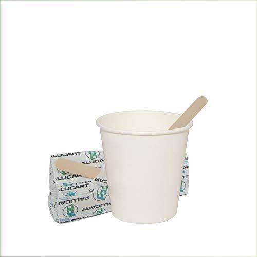 Palucart 500 Bicchieri in Carta per Caffe 90ml Bianco(3 oz) Bicchierini biodegradabili cartoncino per Bevande Calde Cappuccino + 500 Palette in Legno di Betulla