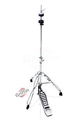 Deluxe Hi-Hat Stand by Griffin   Hi Hat Cymbal Pedal With Drum Key   HiHat Mount with Double Braced Hardware Accessory Set Adjustable High Hat Holder Ideal for Mobile Percussion Drummers Chrome Finish