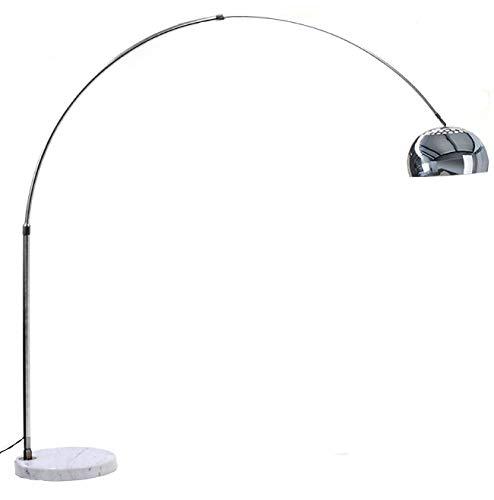 Lampada ad Arco in Alluminio con Base Rotonda in Marmo Bianco - Lampada da Terra con Struttura in Alluminio Cromato - Dimensioni 166 x 90 Cm (Colore Base Bianco)