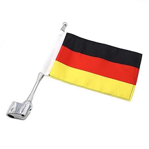GUAIMI Motorrad Flaggehalter Fahnenstange Fahnenmast Antenne Montage mit 5.5 x 9 Zoll Deutsche Flagge für GL1800 GL1500 Goldwing