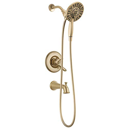 Delta T17494-CZ-I Linden 17 Series Dual-Function Tub and Shower Trim Kit with 2-Spray In2ition 2-in-1 Hand Held Shower Head with Hose, Champagne Bronze (Valve Not Included)