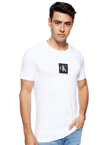 Calvin Klein Center Monogram Box Slim Tee T-Shirt, Bianco (Bright White Yaf), X-Small Uomo