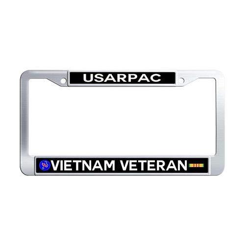 Poplarfg USARPAC Vietnam Veteran License Cover Holder,Aluminum Metal United States Army Pacific Car License Plate Frame Holder