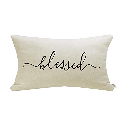 Meekio Farmhouse Pillow Covers with Blessed Quote 12 x 20 inch Farmhouse Rustic Décor Lumbar Pillow Covers with Saying Housewarming Gifts Family Room Décor