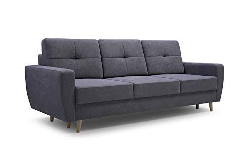 MOEBLO Sofa 3 Sitzer Sofa Couch Garnitur Stoff Samt (Velour) Glamour Wohnlandschaft mit Schlaffunktion - ELDE (Dunkelgrau)
