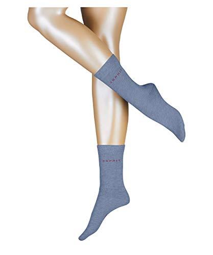 Esprit Damen Uni 2-Pack W SO Hausschuh-Socken, Blau (Jeans 6458), 39-42 (2er Pack)