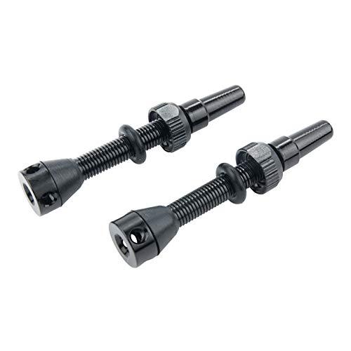 KAIBINY 1 par de válvula de aire sin cámara de 44 mm para bicicleta de carretera y vástago de válvula sin cámara MTB (Color : Black)