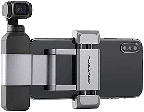 PGYTECH für Osmo Pocket/Osmo Pocket 2 Holder +, Faltbarer Aluminium-Handyhalter Plus Montageset für Osmo Pocket, für Handy (Breite ≤ 90 mm) 77x65x22mm