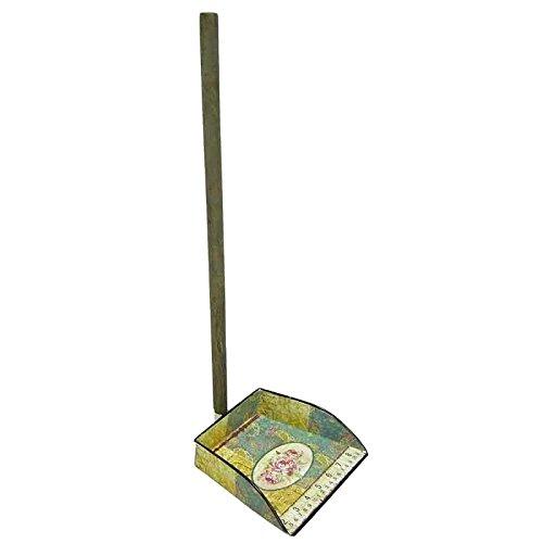 Better & Best bodemverzamelaar van blik, vierkant, met rozenpatroon en meetlint, plaatijzer met folie van gelakt papier, blauw, 20,00x20,00x59,00 cm