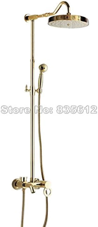 Luxurious shower An der Wand montierte Regendusche Wasserhahn Set Gold Farbe Messing einzigen Griff Badezimmer Badewanne Mischbatterie + Handheld Duschkopf Wgf 645, Gelb