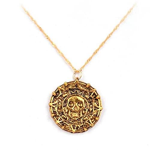 ZXLNB Collier De Crâne Aztèque Antique Pirates des Caraïbes Pendentif Rond Chaîne Bijoux pour Hommes Accessoires en Métal