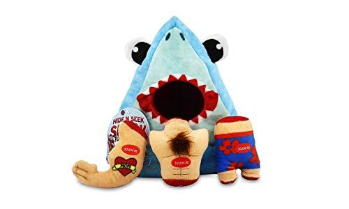 Bow Wow Pet Shark Hide & Seek Plush Dog Toy Set Teeth (4-Piece) Pet Teeth Teasing Toy (97659)