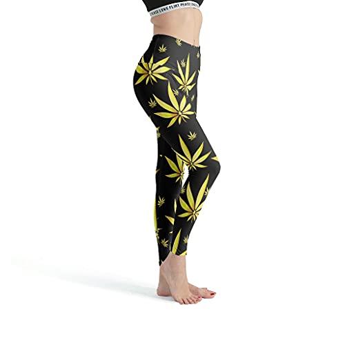 superyu Weed LeavesGirls Leggings elegantes divertidos pantalones de yoga elásticos apretados pantalones capris mallas para correr marihuana