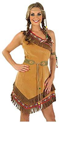 Fancy Me femmes indien d'Amérique rouge squaw indienne déguisement COWBOYS ET INDIENS fête costume UK 8-26 grande taille - Marron, UK 16-18