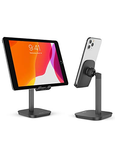 OMOTON Cell Phone Stand, Fully Rotatable Desk Phone Holder with Weighted Base, Compatible with All Cell Phones, iPad, Samsung Tabs and Other Devices (4-12.9'),Black