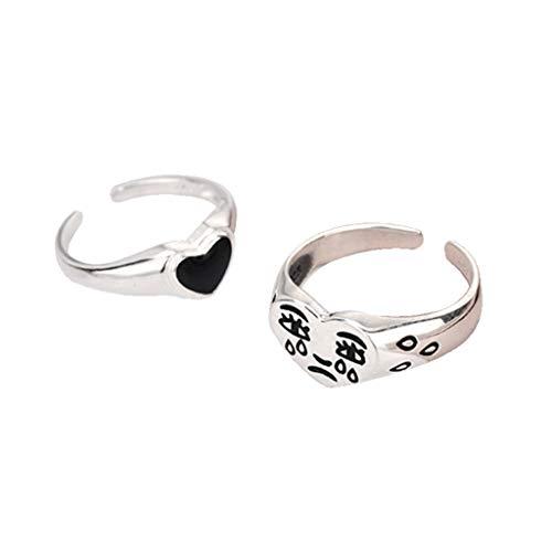 6Wcveuebuc Juego de 2 anillos de corazón para mujer, estilo vintage, abierto, ajustable, anillo especial ajustable