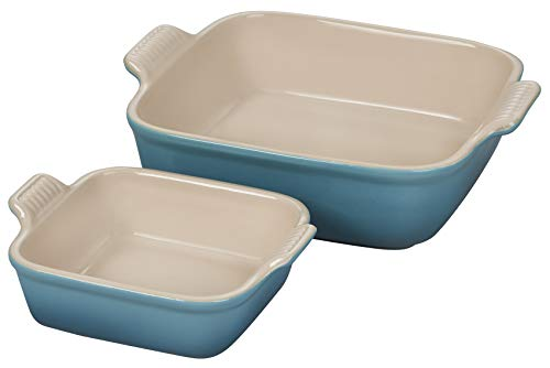 Le Creuset Stoneware Heritage Set of 2 Square Dishes , Small - 18 oz. & Medium - 2 qt., Caribbean