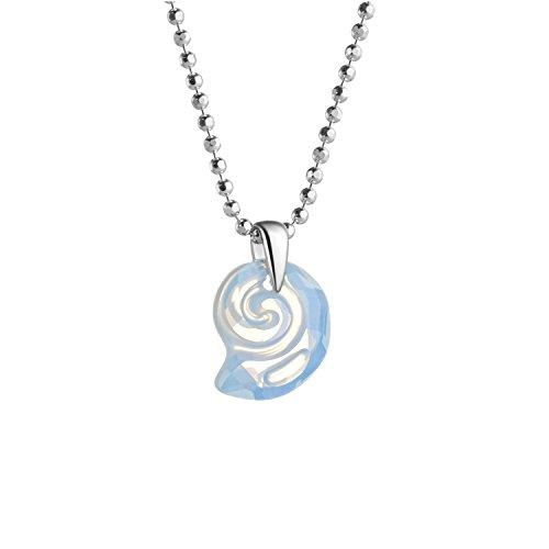 butterfly - Collana per bambina in argento 925 sterling, Elementi Swarovski originali, bianco, ciondolo Conchiglia di mare 36-39 cm con sacchettino