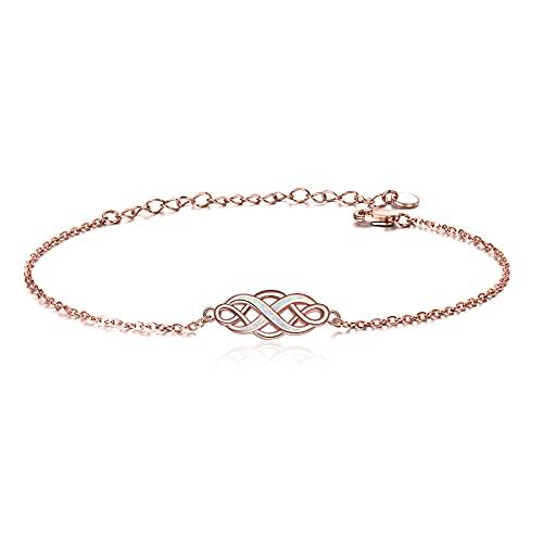 YFN Rose Opal Bracelets Irish Celtic Knot Jewelry Sterling Silver Infinity Love Adjustable Bracelet for Women (Pink)