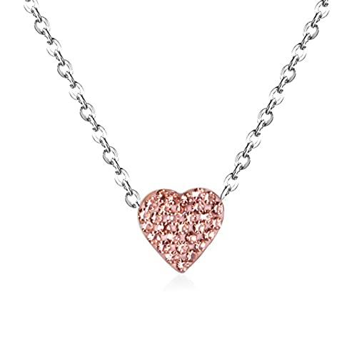 SONGK Colgantes de corazón llamativos, Gargantilla de Acero Inoxidable 316L, Collares de Cadena, joyería para Mujeres/Hombres, Collar de Arcilla, Oro/Acero