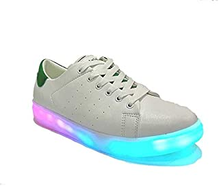Mr.Shoes Rainbow led Lights Shoes app Controller Bluetooth with Music White Green Men's Running Shoes for Men (White, Green)