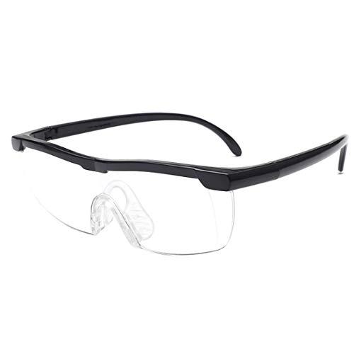 [Kzr] 拡大鏡 めがね 1.6倍 ルーペ ルーペメガネ メガネ型拡大鏡 眼鏡ルーペ おしゃれ ブラック 「1年間の