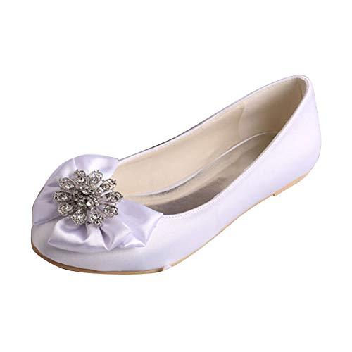 Charmstep Bailarinas De Boda Satén para Mujer, Punta Redonda Lazo Diamantes De Imitación Zapatos De Boda MQW-032,Blanco,35 EU