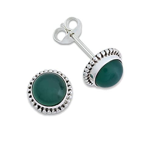 Pendientes de plata 925 con ónix verde (No: MOS 41-14)